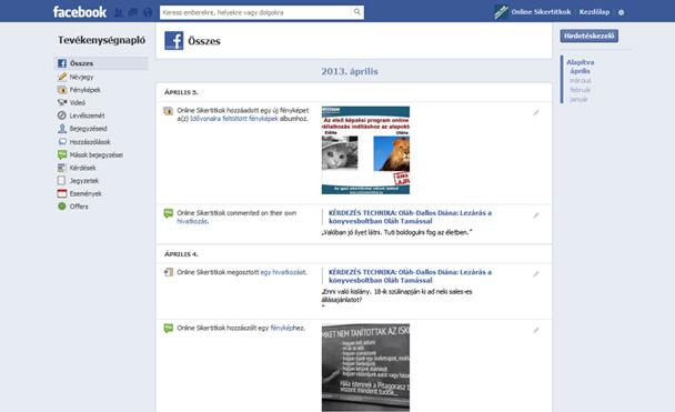 Facebook evékenységi napló